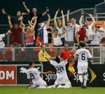 Santino Quaranta celebrates in style after opening his account for the United States at the RFK.